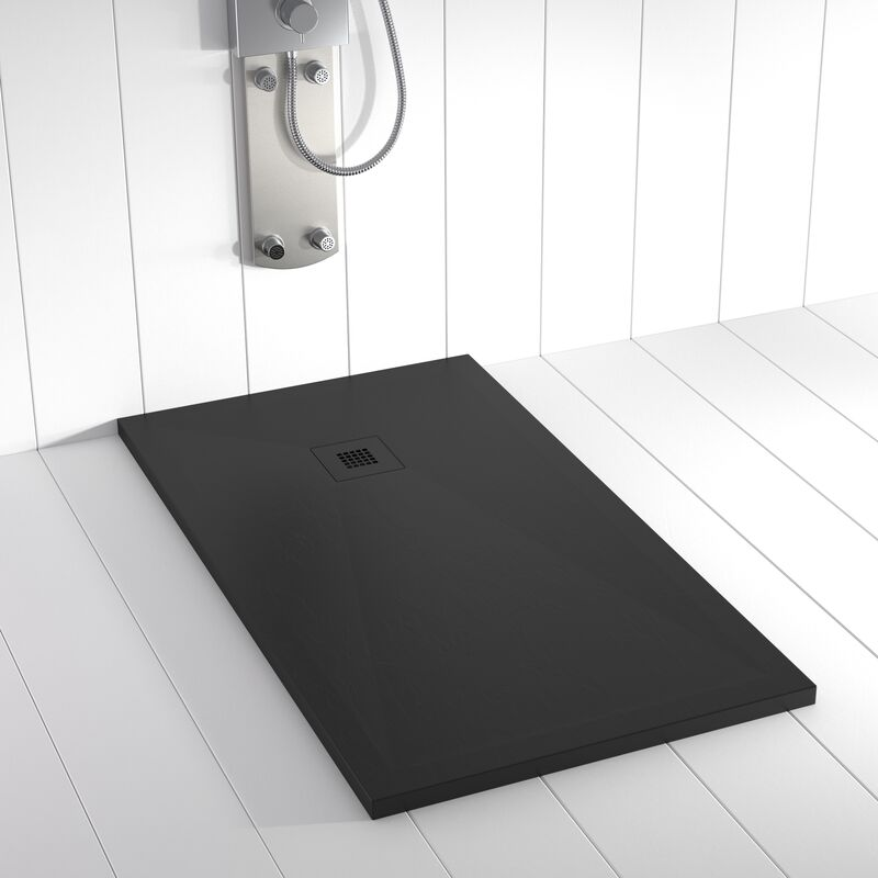Plato de ducha Resina Stone PLES Negro rejilla en color - 70x210 cm - SHOWER ONLINE