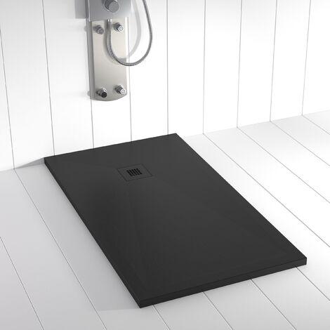 Plato de ducha Resina Stone PLES  Negro Ral 9005 (rejilla en color) -70x80 cm