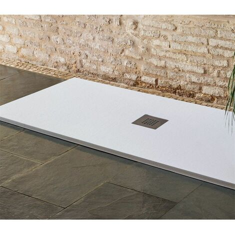 Plato de Ducha textura sillar   Blanco   Desagüe Centrado - 80X160