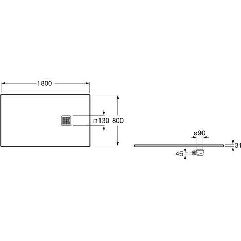 PLATO DUCHA RES TERRAN BASIC C/DES 1800X800 BL MAT