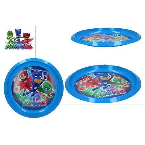 Plato Llano de Plástico Duro, Reutilizable, para Niños, Color Azul. Modelo PJ Masks, con estilo Infantil - Hogar y Más