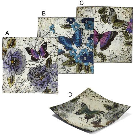 Platos Decorativos (24x24 cm) Cuadrados de Mariposa 4 modelos A