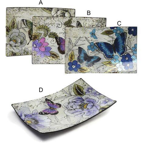 Platos Decorativos Rectangulares de Cristal (41.5x25 cm) Mariposas 4 modelos Modelo - A