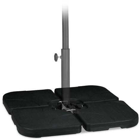 Platten Schirmständer, für Ampelschirm, befüllbar mit 60l Wasser o. 90kg Sand, 50 x 50 cm, Kunststoff, schwarz