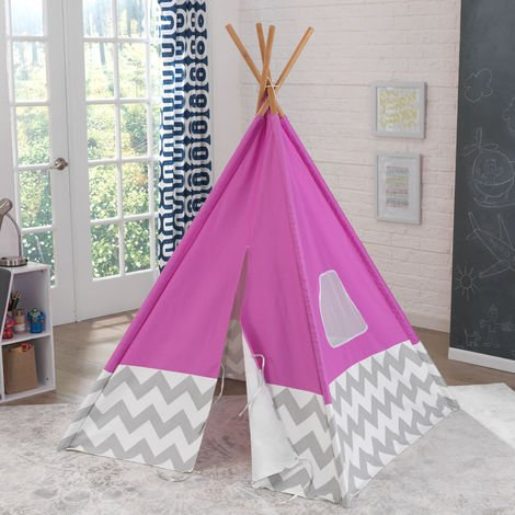 Play TeePee - Pink with Gray & White Chevrons