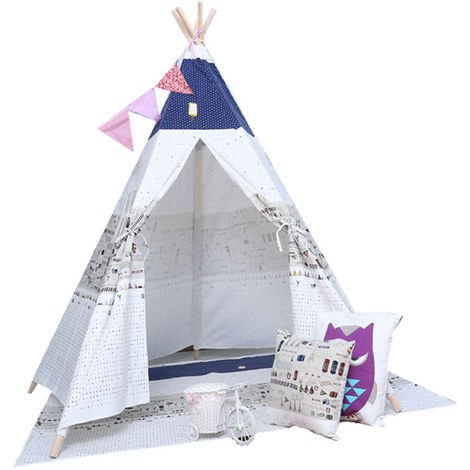 Play Tent Canvas Window For Children Dog White Blue With Pattern