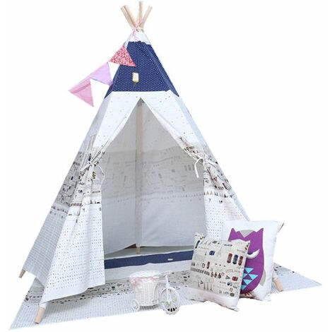 Play Tent Window Canvas For Children Dog White Blue With Pattern WASHED