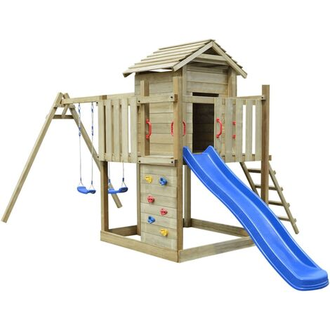 Playhouse Set with Ladder, Slide and Swings 557x280x271 cm Wood