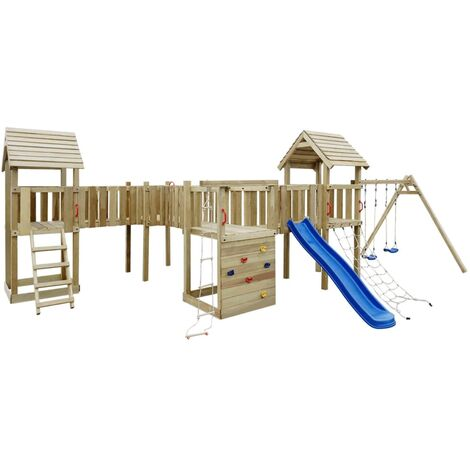 Playhouse Set with Slide, Ladders and Swings 800x615x294cm Wood - Brown