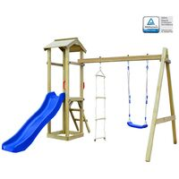 Playhouse Set with Slide Ladders Swing 242x237x218 cm FSC Wood