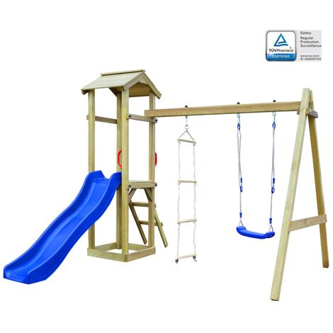 Playhouse Set with Slide Ladders Swing 242x237x218 cm Wood - Multicolour