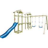 Playhouse with Ladder, Slide and Swings 252x432x218 cm FSC Wood