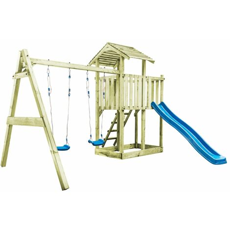 Playhouse with Ladder, Slide and Swings 385x353x268 cm Wood