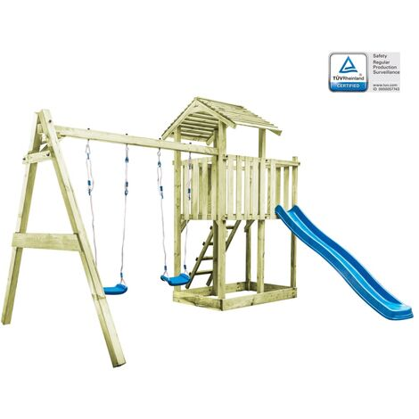 Playhouse with Ladder, Slide and Swings 385x353x268 cm Wood - Brown