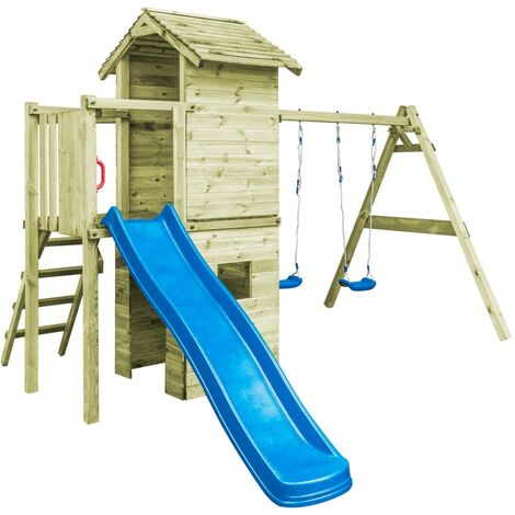 Playhouse with Ladder, Slide and Swings 390x353x268 cm Wood