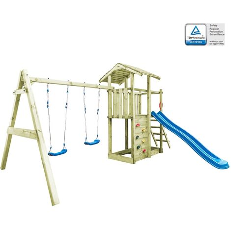 Playhouse with Ladder, Slide and Swings 471x356x265 cm Wood - Brown