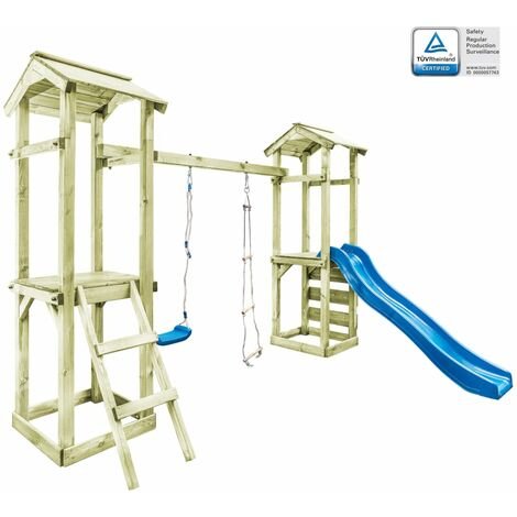 """main image of """"Playhouse with Ladder Slide Swing Set by Freeport Park - Brown"""""""