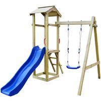 Playhouse with Slide Ladder Swing 237x168x218 cm FSC Pinewood