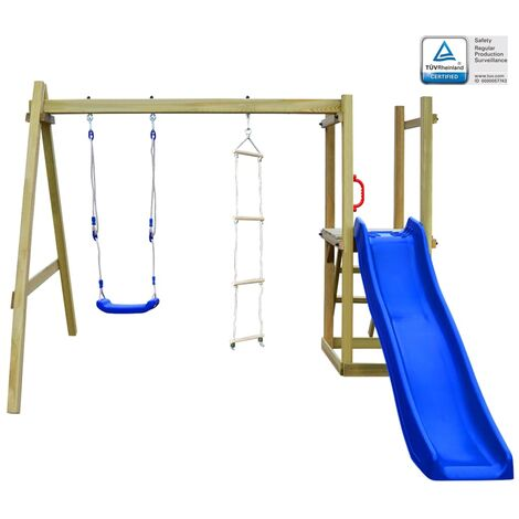 Playhouse with Slide Ladders Swing 242x237x175 cm Wood - Multicolour