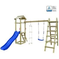 Playhouse with Slide Ladders Swing 286x237x218 cm FSC Wood