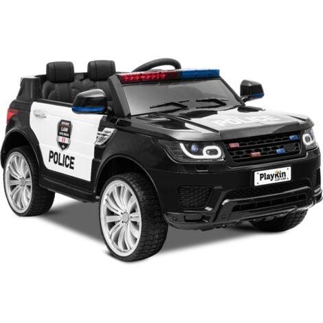 PLAYKIN Coche de policia de bateria 12V niños 3-8 años COP CAR con luces, sonidos, mando