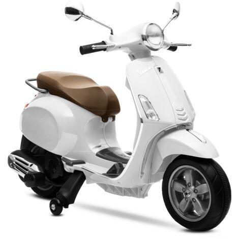 PLAYKIN Moto electrica niños VESPA BLANCA oficial bateria 6V recargable triciclo +3 años