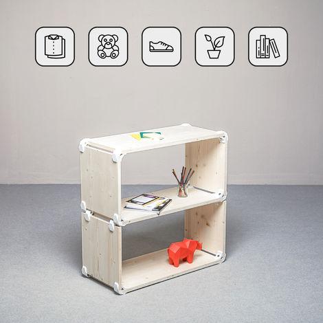 Scaffali Bianchi Componibili.Playwood Kit Scaffale A 2 Ripiani Multifunzione In Legno Di