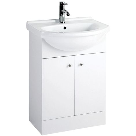 Plaza basin and under sink cabinet set,white high gloss
