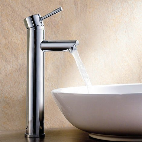 Plaza Faucet Monobloc Chrome Counter Top Tall Bathroom Sink Basin Mixer Tap