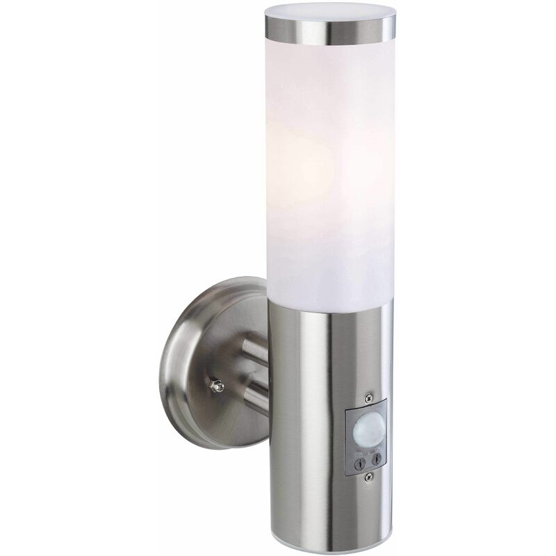 Image of Plaza wall lamp with detector, stainless steel