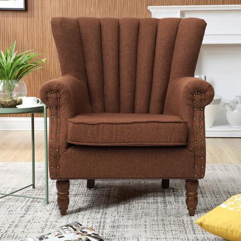 Pleated Wingback Armchair Tub Chair Single Sofa, Coffee