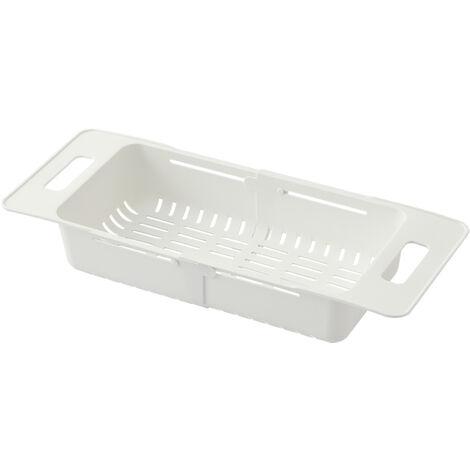 Plegable colador sobre fregadero fregadero ajustable Cesta vegetal Frutas drenaje de la cesta del fregadero de cocina extensible colador placa de secado Basket, blanca