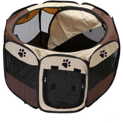 Plegable impermeable para mascotas corral al aire libre de Oxford acoplamiento del aire del corralito y corral de ejercicios Carpa Casa Zona de juegos para el tamano de los gatos y perros pequenos, Brown