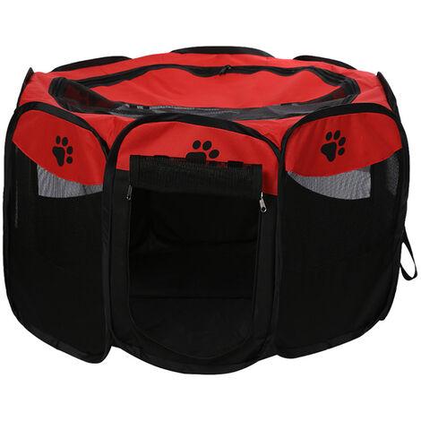 Plegable impermeable para mascotas corral al aire libre de Oxford acoplamiento del aire del corralito y corral de ejercicios Carpa Casa Zona de juegos para el tamano de los gatos y perros pequenos, Rojo