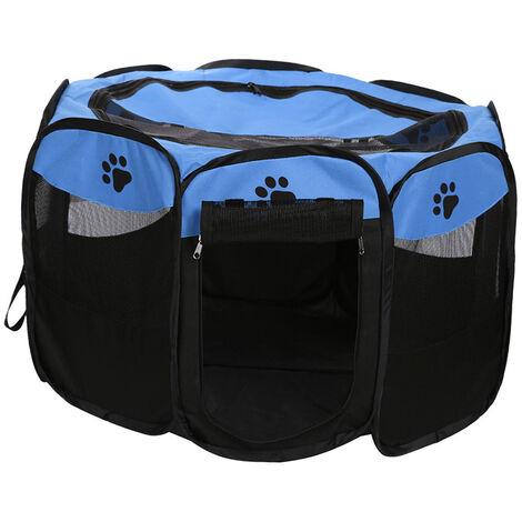 Plegable portatil a prueba de agua para mascotas corral al aire libre de Oxford acoplamiento del aire del corralito y corral de ejercicios Carpa Casa Zona de juegos para el tamano de los gatos y perros pequenos, Azul