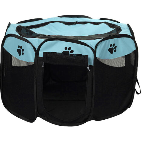 Plegable portatil a prueba de agua para mascotas corral al aire libre de Oxford acoplamiento del aire del corralito y corral de ejercicios Carpa Casa Zona de juegos para perros y gatos Pequeno, azul cielo