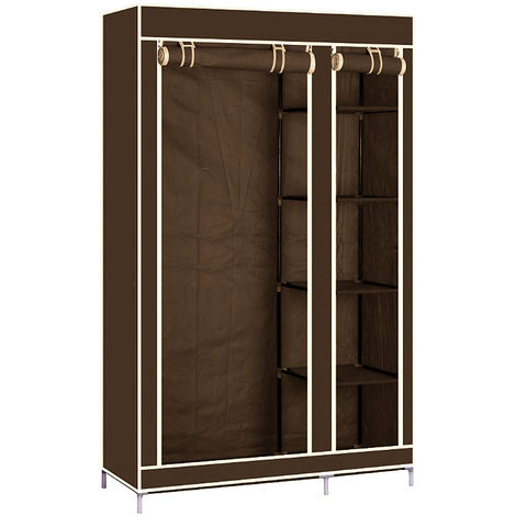 Pliage bricolage placard en tissu coincé vêtements système d'étagère armoire vêtements rail garde-robe Marron