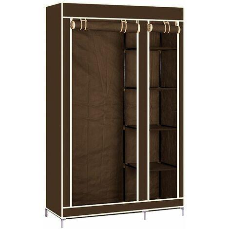 Pliage bricolage placard en tissu coince vetements systeme d'etagere armoire vetements rail garde-robe Marron