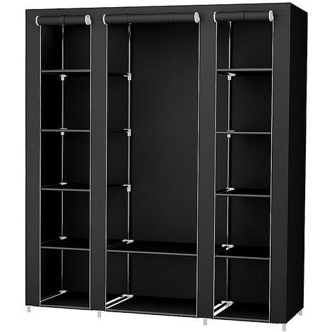 Pliage bricolage placard en tissu coincé vêtements système d'étagère armoire vêtements rail garde-robe Noir