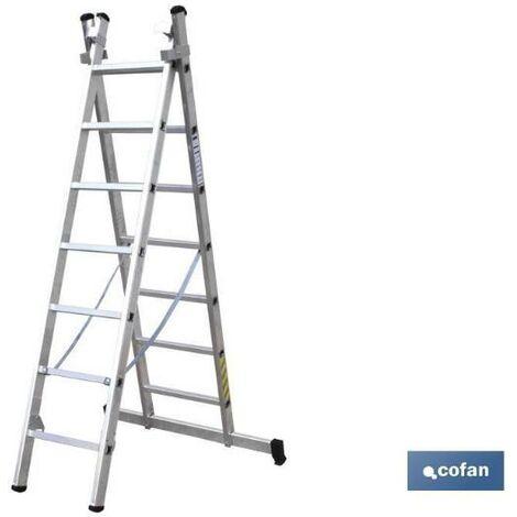 PLIMPO escalera aluminio doble 7 peldaños 2,00+2,00 mts