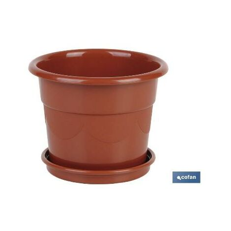 PLIMPO maceta dalia color marron 28.5x22.5+ plato 23.5cm caja 12 unid.