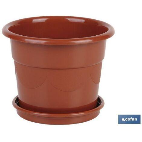 PLIMPO maceta dalia color marron 36.5x32.5 + plato 31.5cm caja 6 unid.