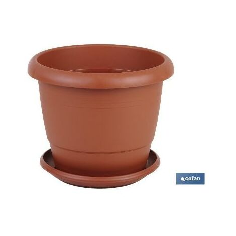 PLIMPO maceta marron modelo gardenia 25x20.5+ plato 21cm caja 12 unid.