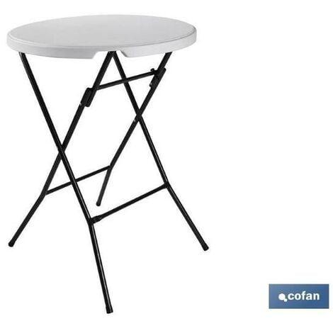 PLIMPO mesa alta plegable blanca 80x80x110cm