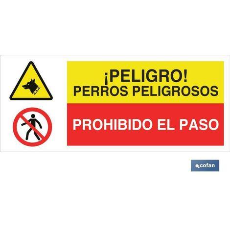 PLIMPO señal poliestireno 1,5mm 507x210 combinada peligro/prohibición