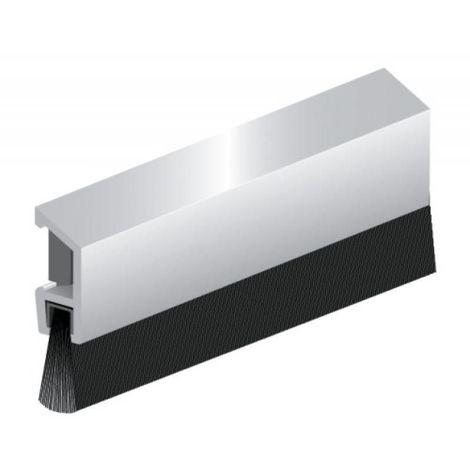 Plinthe en applique à fixation invisible et brosse de bas de porte type IDS - B finition argent
