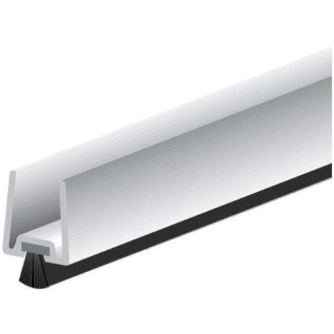 Plinthe en clippage à brosse droite de dessous de porte en verre type GDP pour porte épaisseur 10 mm