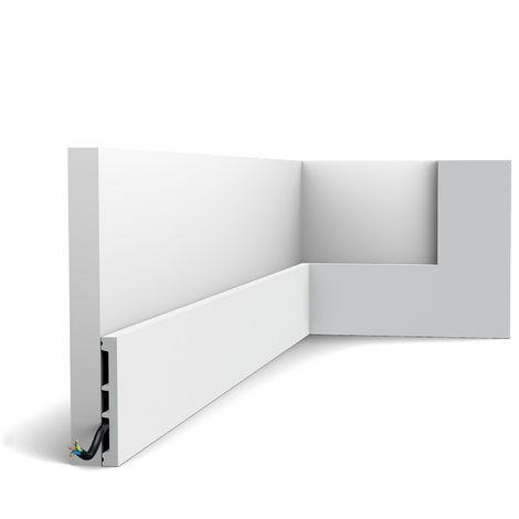 Plinthe Orac Decor SX163-RAL9003 AXXENT SQUARE Plinthe Cimaise Moulure décorative prépeinte design intemporel classique blanc de sécurité 2 m