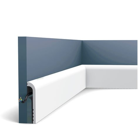 Plinthe Orac Decor SX185 LUXXUS CASCADE Plinthe Moulure décorative design moderne blanc 2m