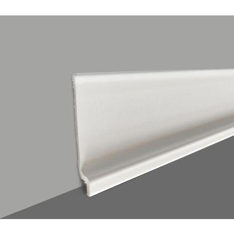 Plinthe souple en PVC, de grande qualité, Blanc, Gris clair, Gris foncé, ou Noir, hauteur 70 mm, longueur au choix - Gris clair - 50 ML.